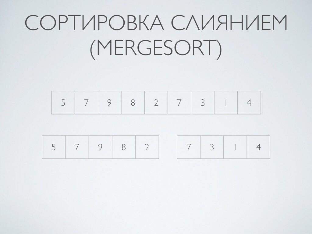 СОРТИРОВКА СЛИЯНИЕМ (MERGESORT) 5 7 9 8 2 7 3 1...