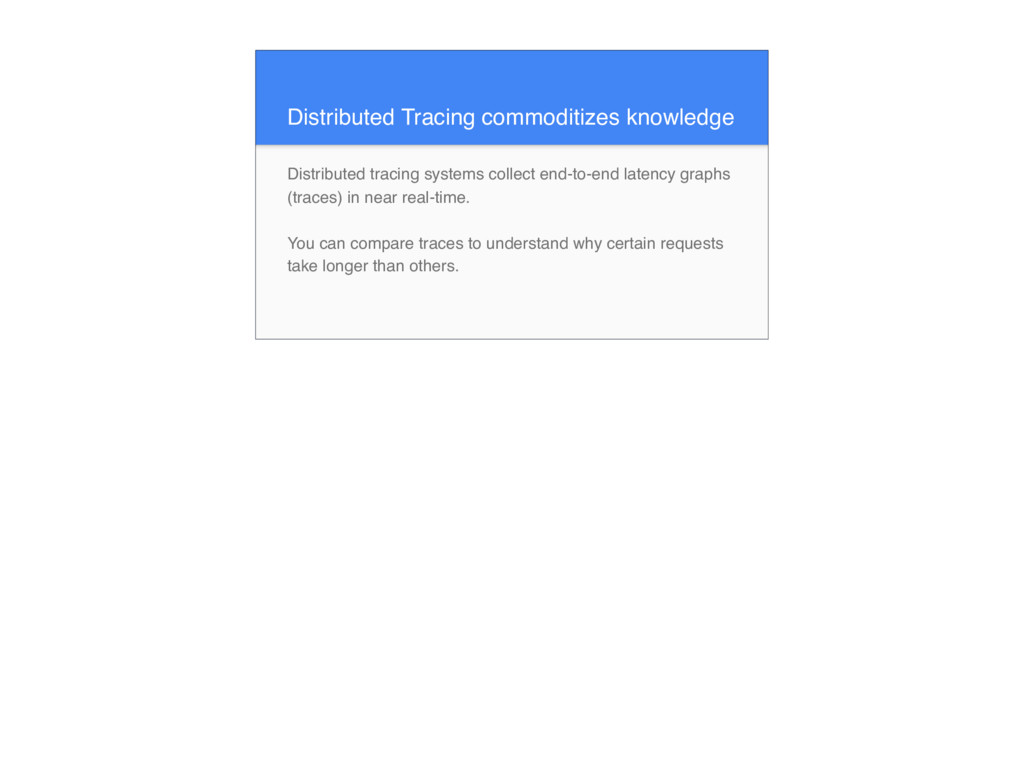 Distributed Tracing commoditizes knowledge Dist...