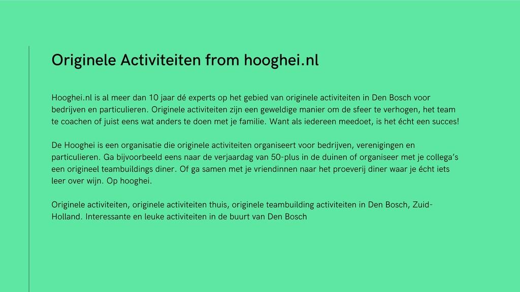 Originele Activiteiten from hooghei.nl Hooghei....