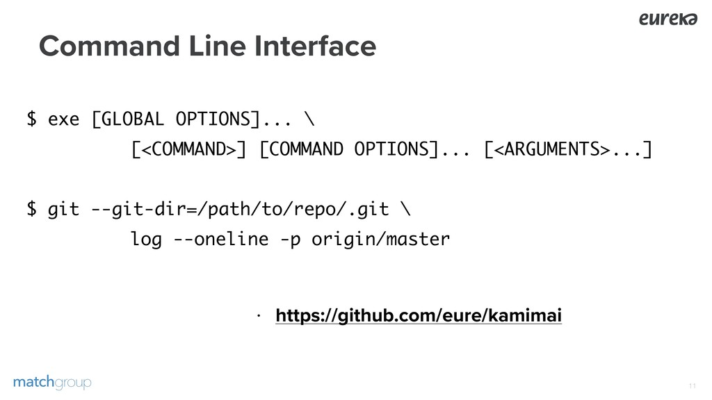 Command Line Interface !11 $ exe [GLOBAL OPTION...