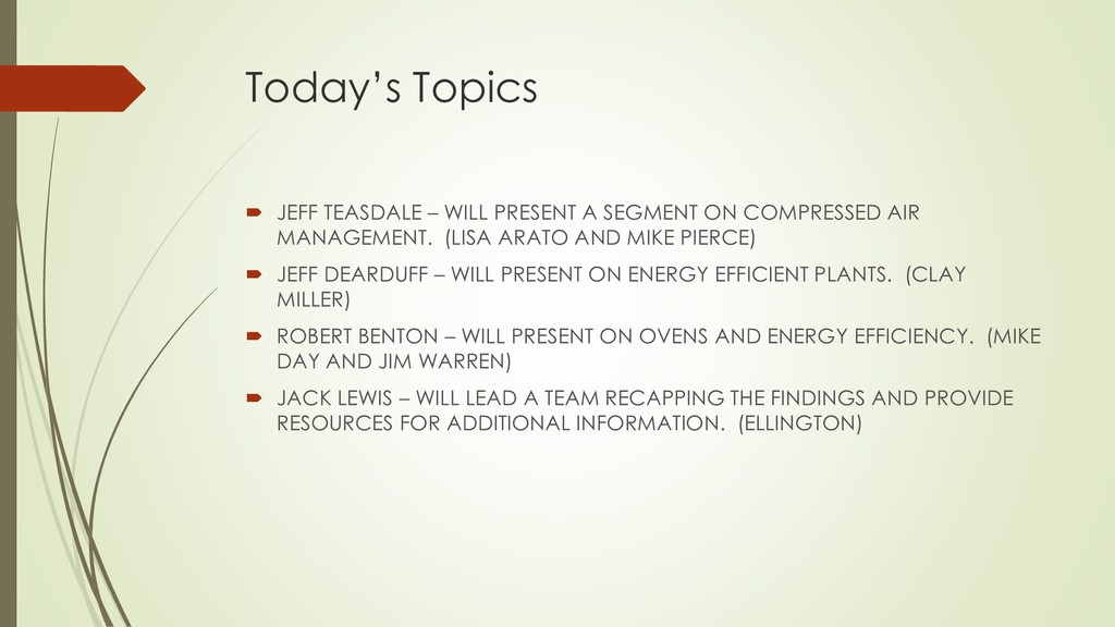 Today's Topics  JEFF TEASDALE – WILL PRESENT A...