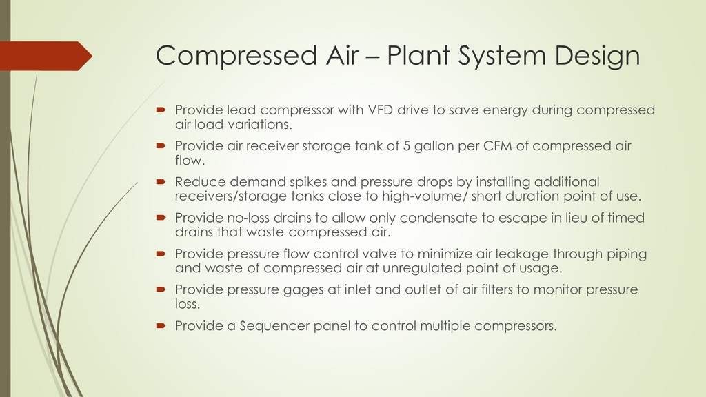 Compressed Air – Plant System Design  Provide ...