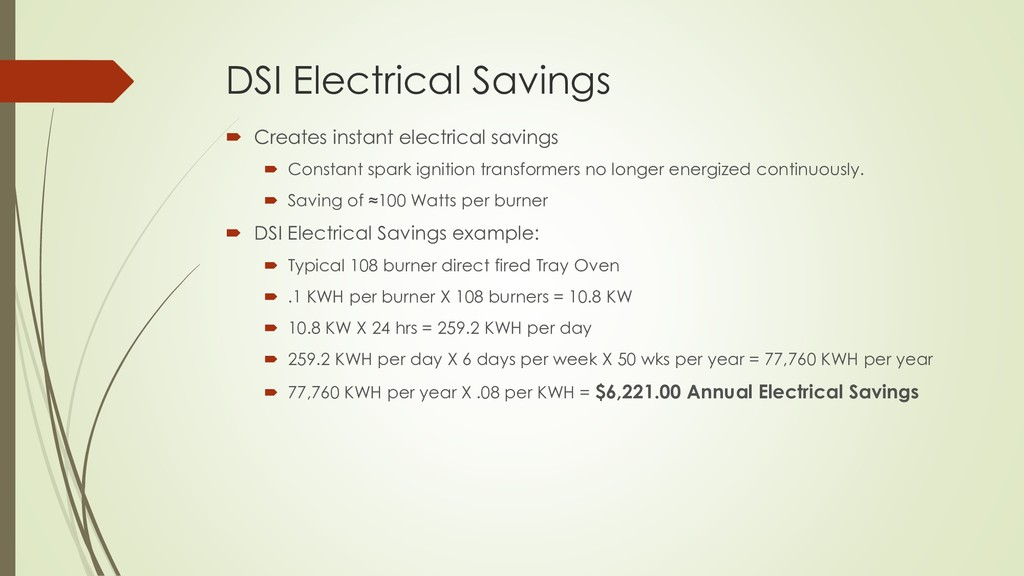 DSI Electrical Savings  Creates instant electr...