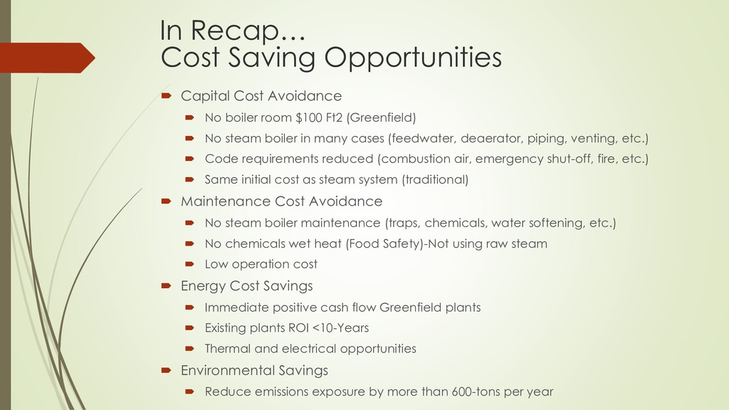 Cost Saving Opportunities  Capital Cost Avoida...