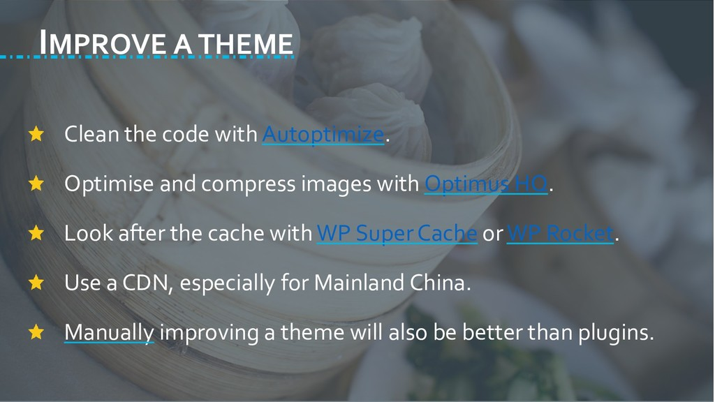 IMPROVE A THEME Clean the code with Autoptimize...