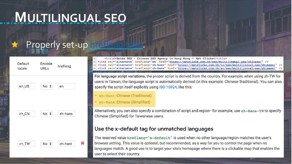 MULTILINGUAL SEO Properly set-up hreflang tags.