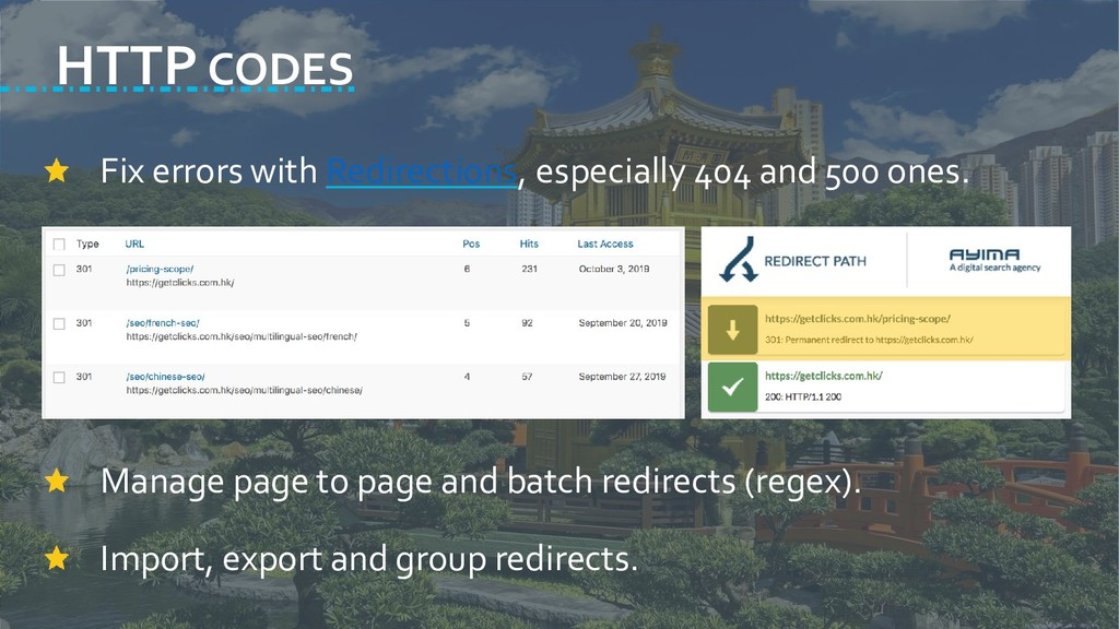 HTTP CODES Fix errors with Redirections, especi...