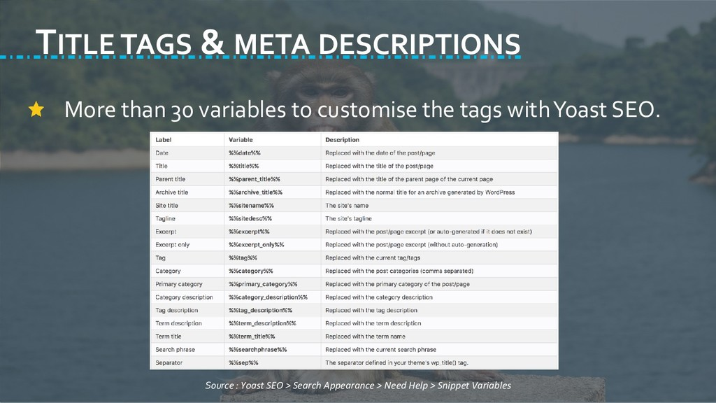 TITLE TAGS & META DESCRIPTIONS More than 30 var...