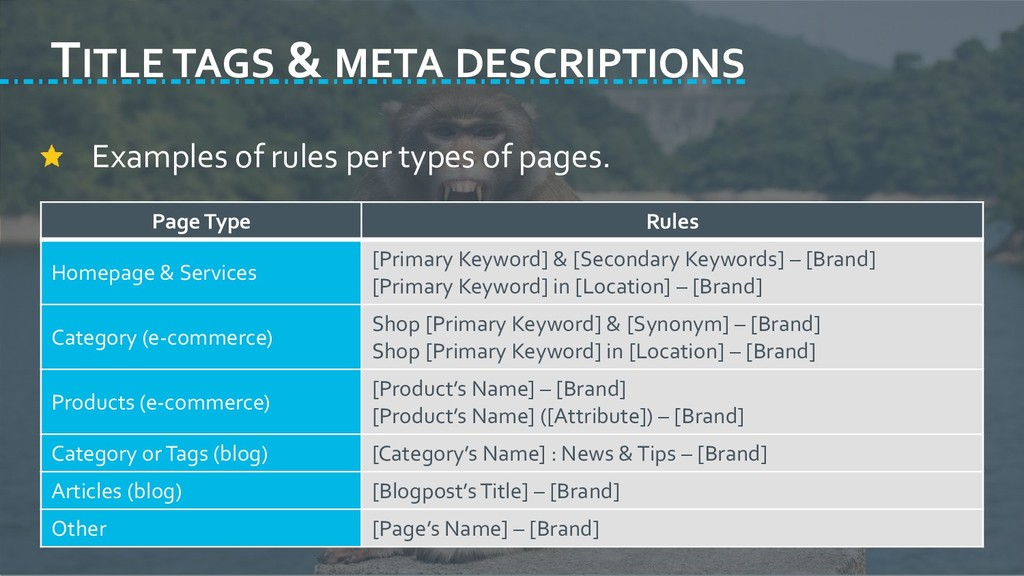 TITLE TAGS & META DESCRIPTIONS Examples of rule...