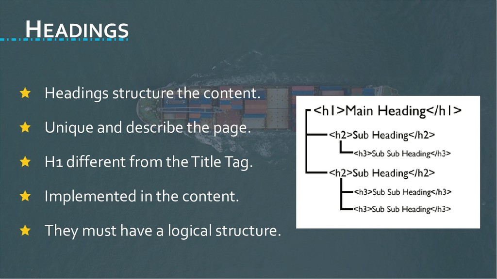 HEADINGS Headings structure the content. Unique...
