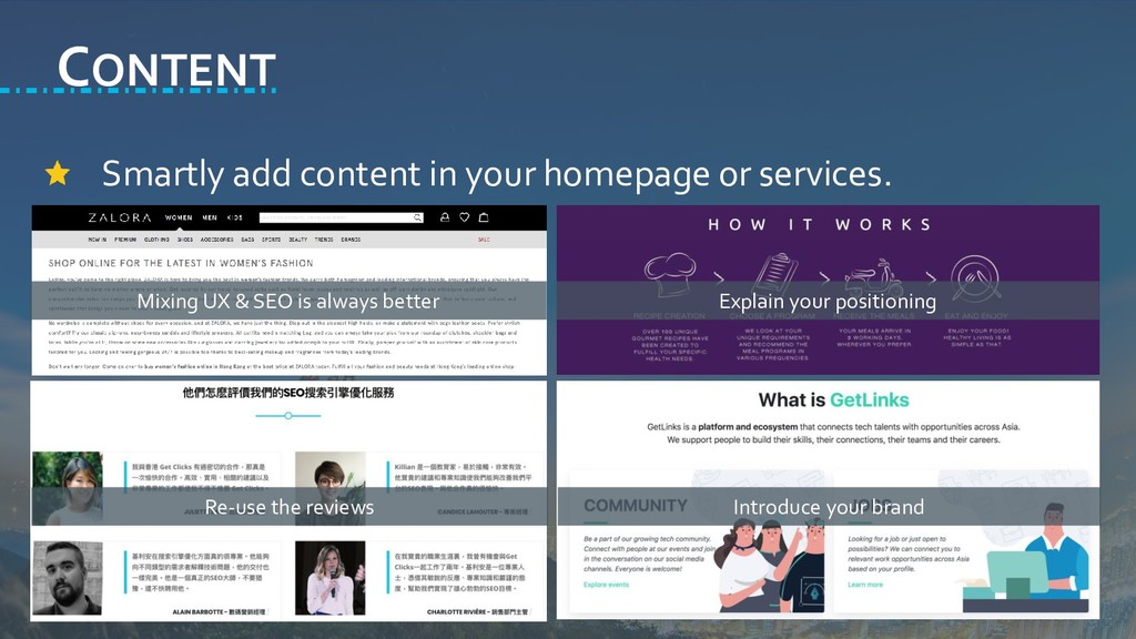 CONTENT Smartly add content in your homepage or...