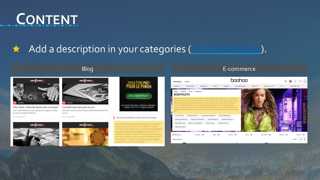 CONTENT Add a description in your categories (P...