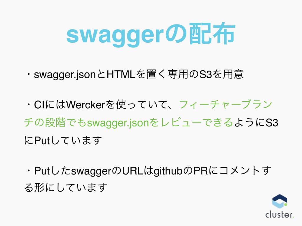 swaggerͷ ɾswagger.jsonͱHTMLΛஔ͘ઐ༻ͷS3Λ༻ҙ ɾCIʹW...
