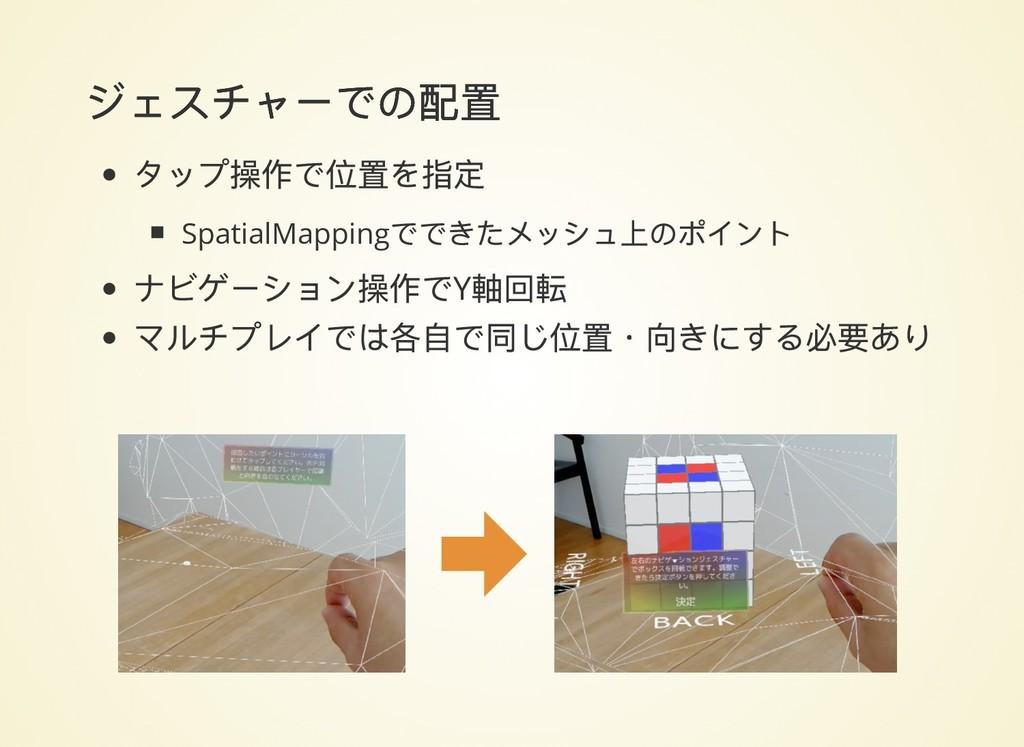 ジェスチャーでの配置 ジェスチャーでの配置 タップ操作で位置を指定 SpatialMappin...