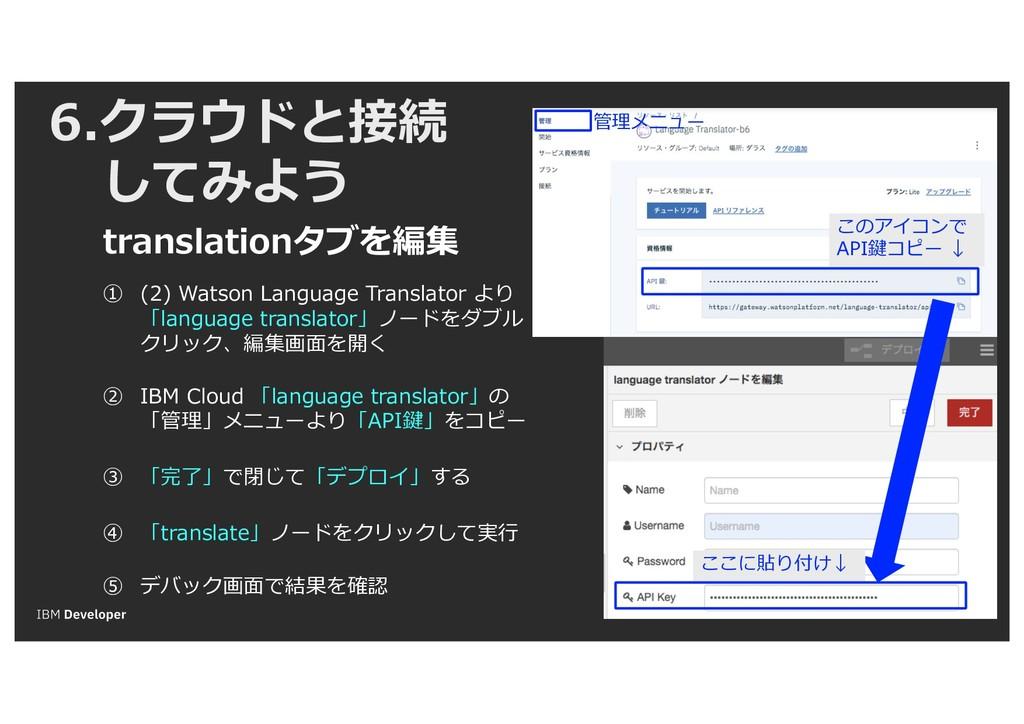 6.クラウドと接続 してみよう translationタブを編集 ① (2) Watson L...