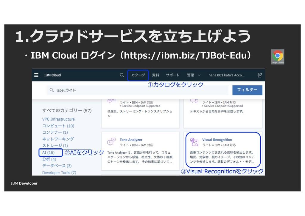 1.クラウドサービスを⽴ち上げよう ・IBM Cloud ログイン(https://ibm.b...