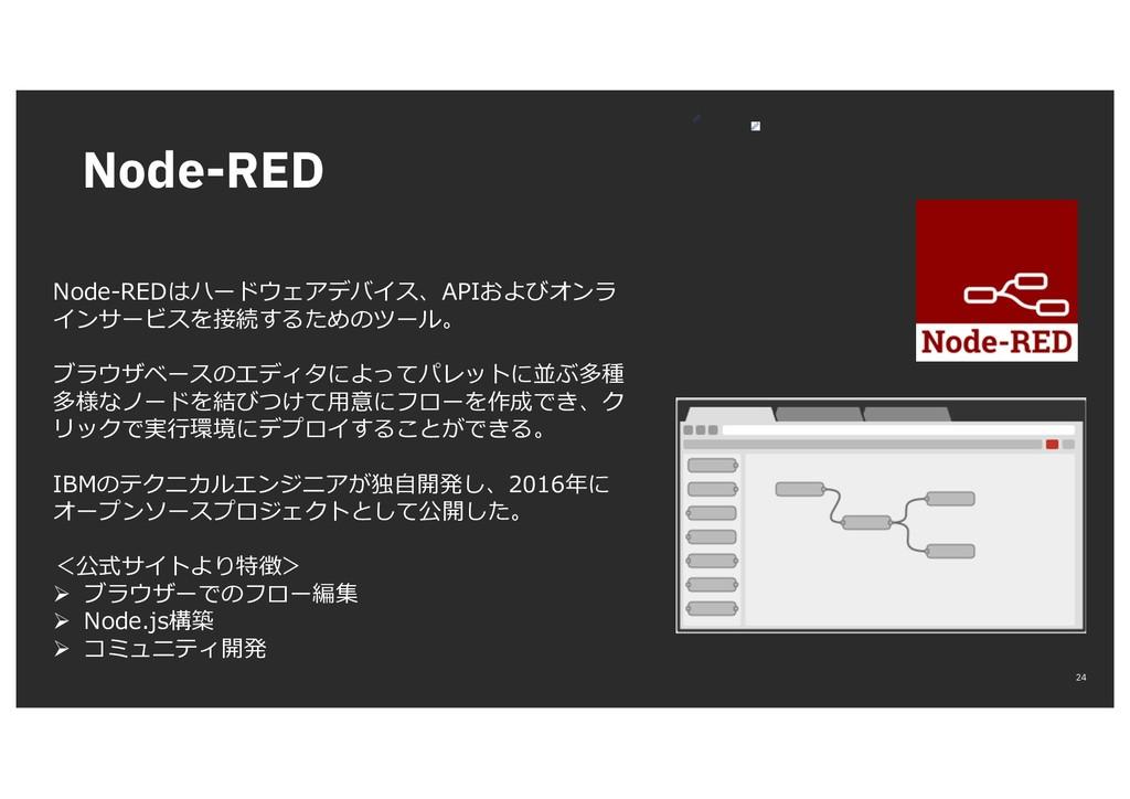 Node-RED 24 Node-REDはハードウェアデバイス、APIおよびオンラ インサービ...
