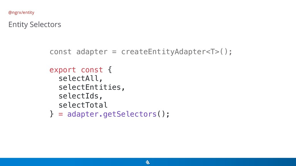 @ngrx/entity Entity Selectors const adapter = c...