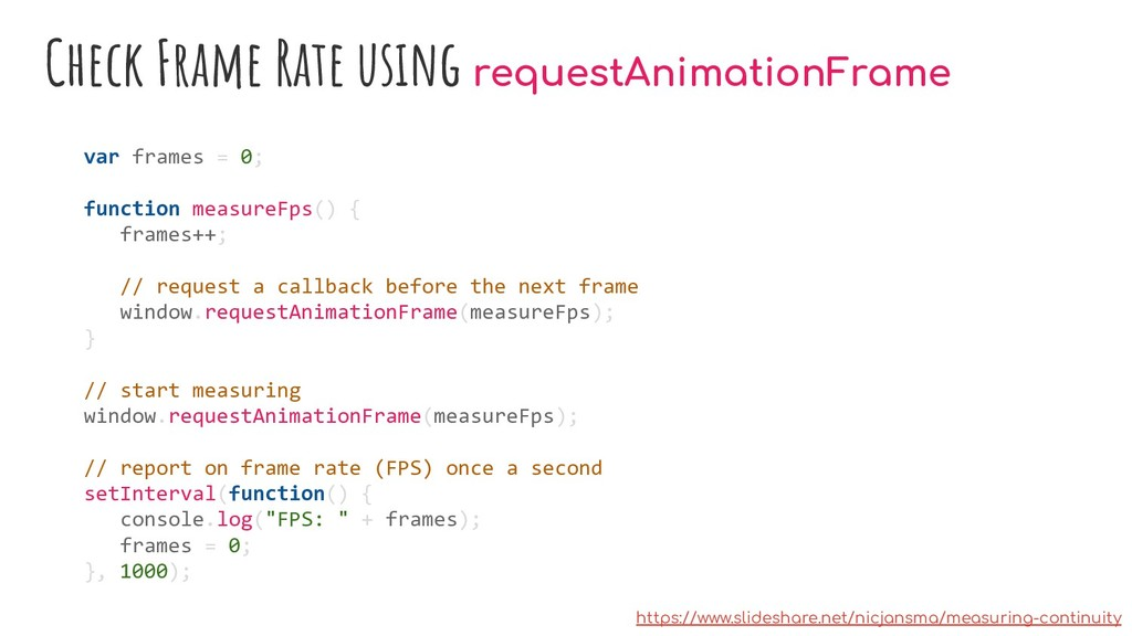 Check Frame Rate using requestAnimationFrame va...