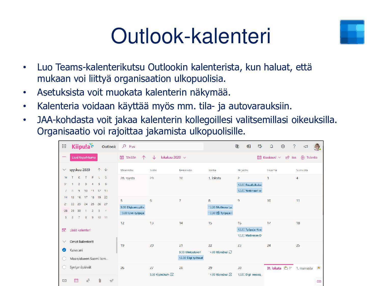 Outlook-sähköposti Määrittele asetuksista mm. n...