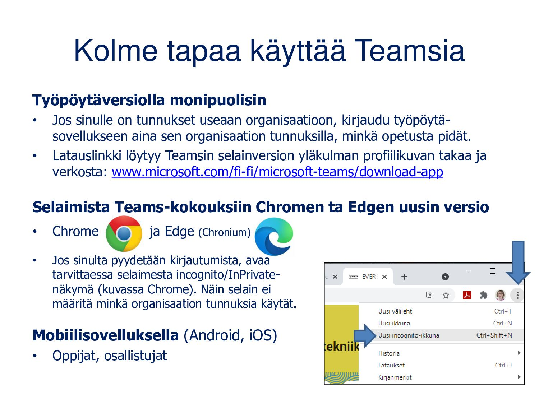 Teams ryhmien työskentelyyn Teams on yhteisten ...