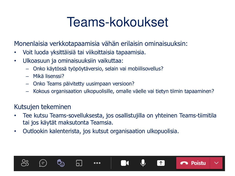 Teams-ohjeita Uutuudet löydät Teamsista (kuva a...
