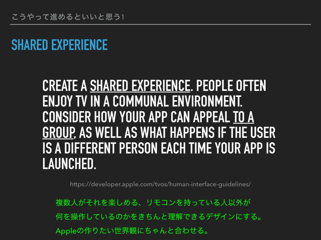 ͜͏ͬͯਐΊΔͱ͍͍ͱࢥ͏1 SHARED EXPERIENCE CREATE A SHAR...