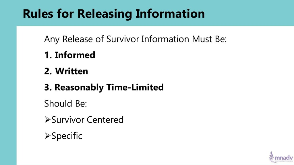 Rules for Releasing Information Any Release of ...