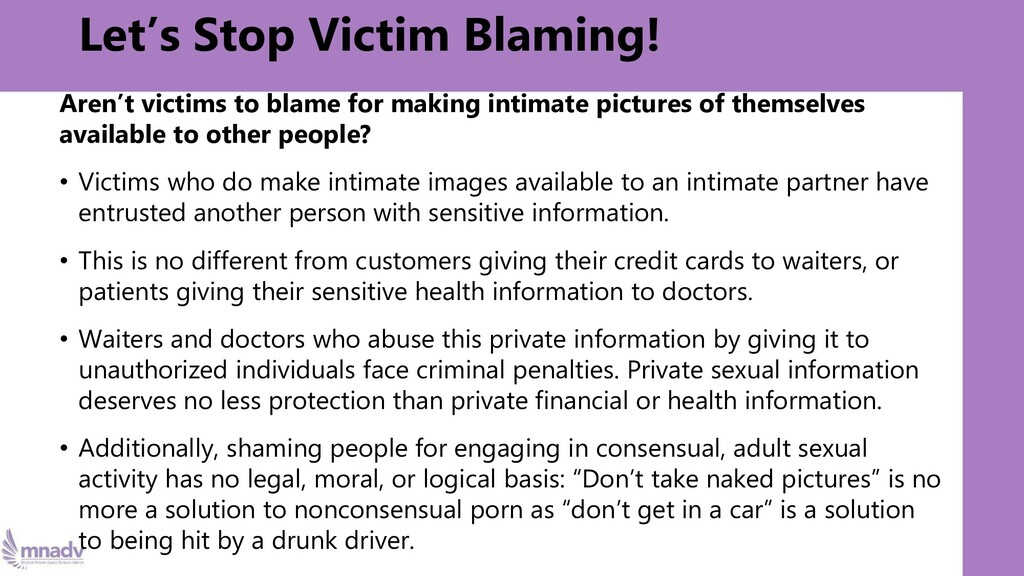 Let's Stop Victim Blaming! Aren't victims to bl...