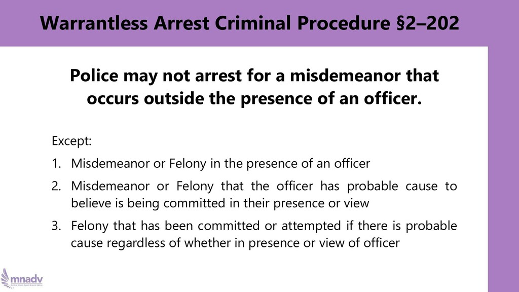 Warrantless Arrest Criminal Procedure §2–202 Po...