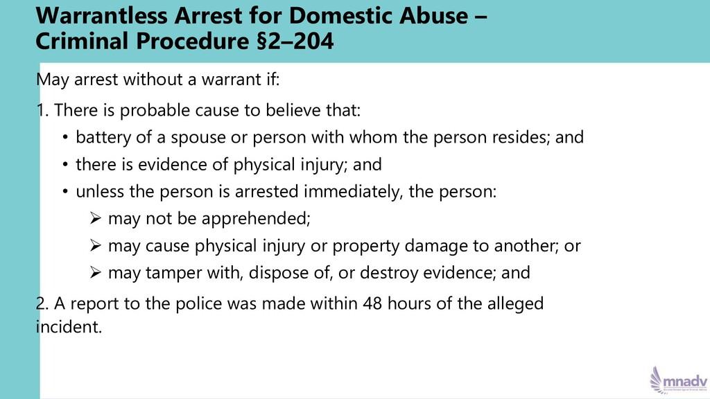 Warrantless Arrest for Domestic Abuse – Crimina...