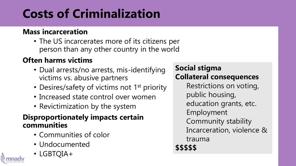 Costs of Criminalization Mass incarceration • T...
