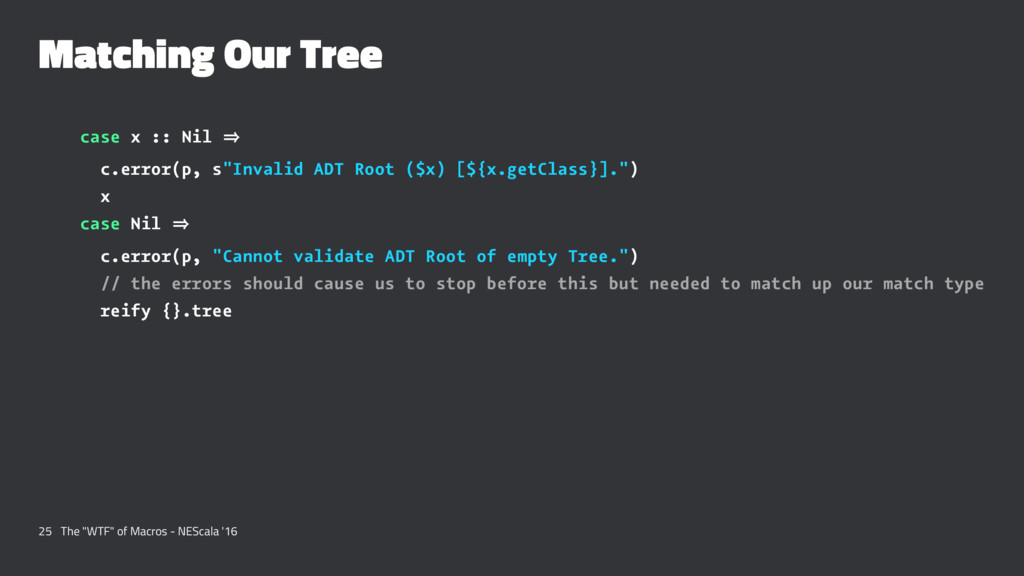 "Matching Our Tree case x :: Nil 㱺 c.error(p, s""..."