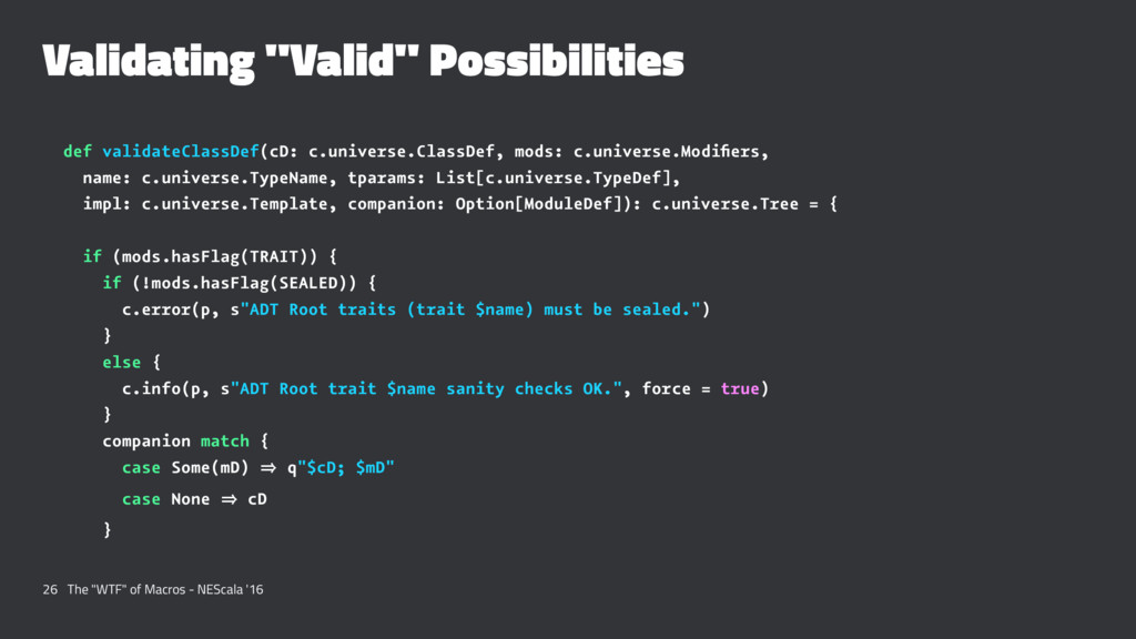 "Validating ""Valid"" Possibilities def validateCl..."