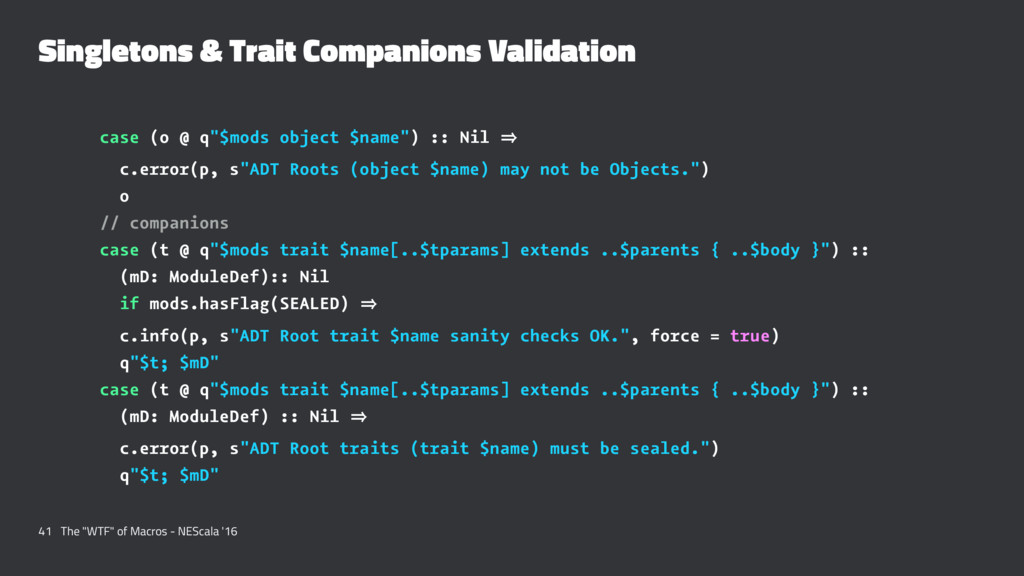 Singletons & Trait Companions Validation case (...