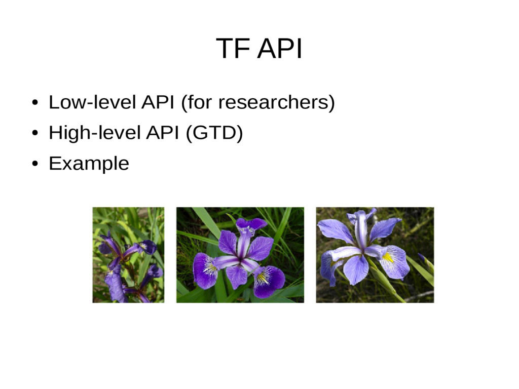 TF API ● Low-level API (for researchers) ● High...