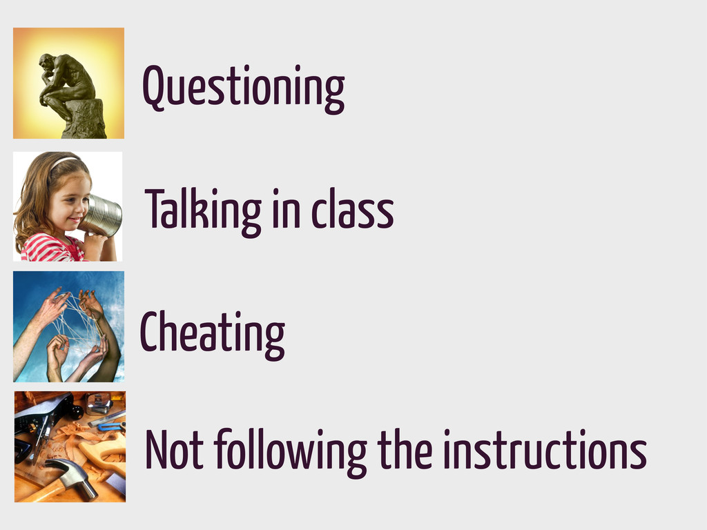 Questioning Talking in class Cheating Not follo...
