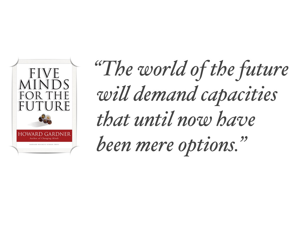 """""""The world of the future will demand capacities..."""