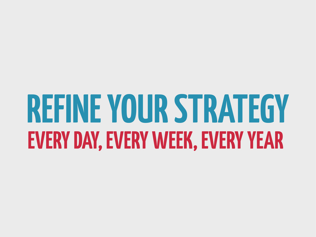 REFINE YOUR STRATEGY EVERY DAY, EVERY WEEK, EVE...