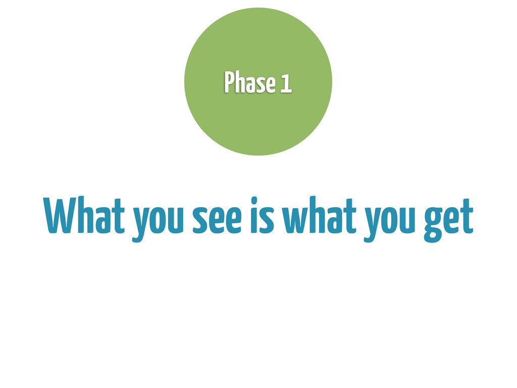What you see is what you get Phase 1