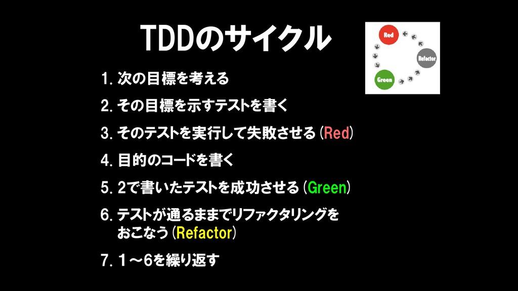 TDDのサイクル 1. 次の目標を考える 2. その目標を示すテストを書く 3. そのテストを...