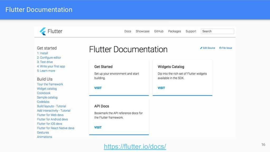 Flutter Documentation 16 https://flutter.io/doc...