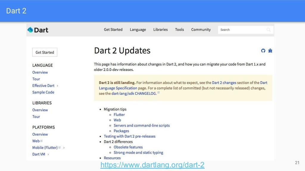 Dart 2 21 https://www.dartlang.org/dart-2