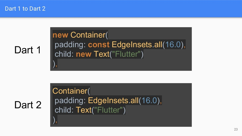 Dart 1 to Dart 2 23 Container( padding: EdgeIns...