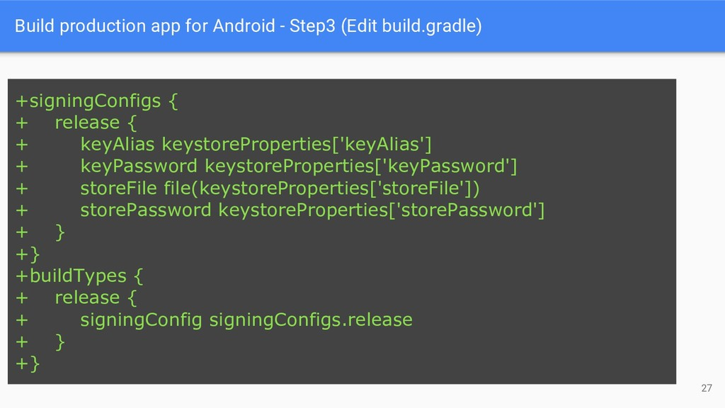 Build production app for Android - Step3 (Edit ...