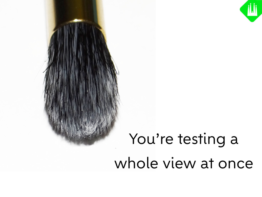 You're testing a whole view at once