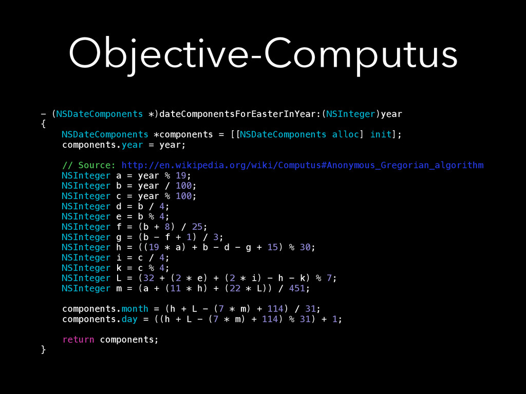 Objective-Computus - (NSDateComponents *)dateCo...