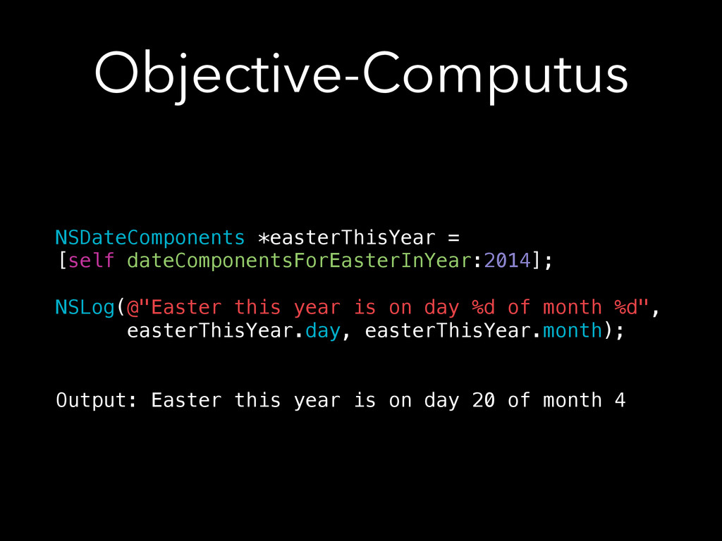 Objective-Computus NSDateComponents *easterThis...