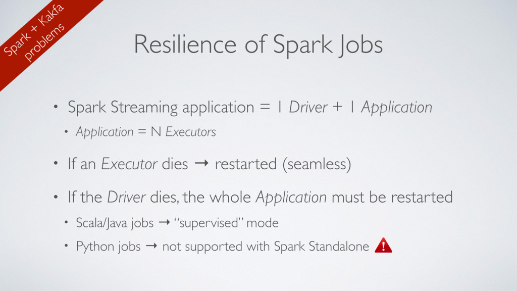 Resilience of Spark Jobs • Spark Streaming appl...