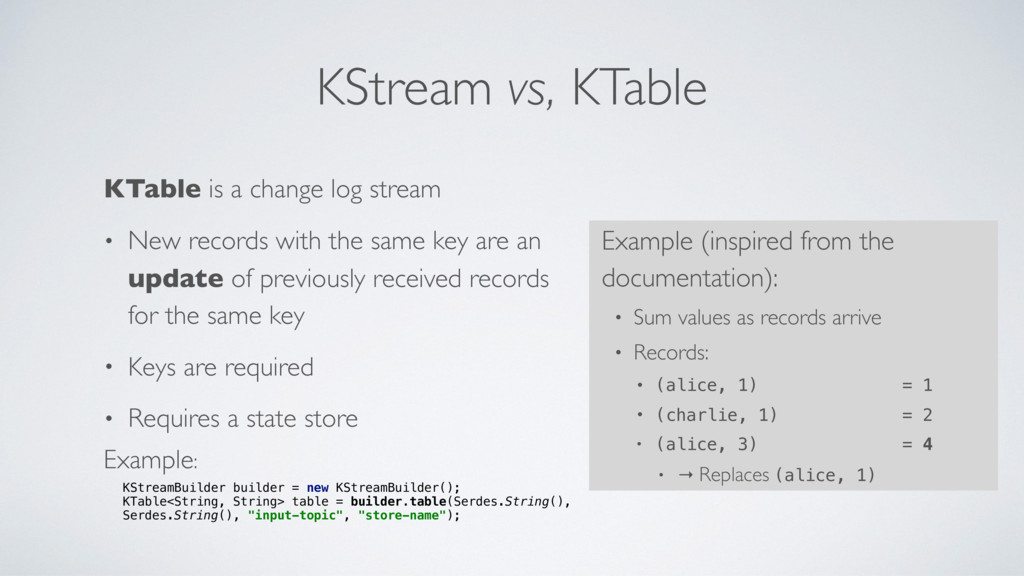 KStream vs, KTable KTable is a change log strea...